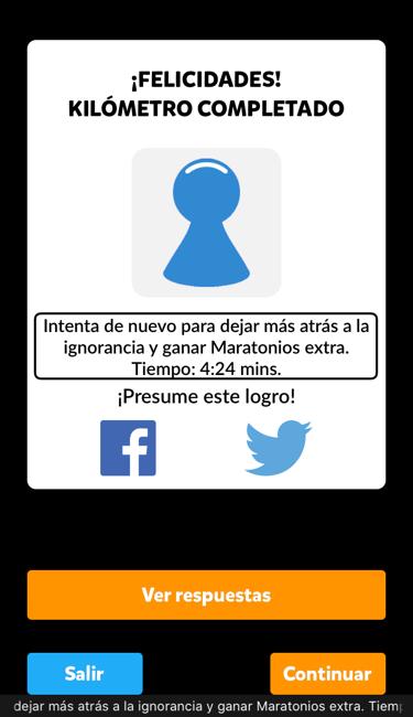Se muestra la pantalla de una ronda de preguntas en el juego Maratón para iOS