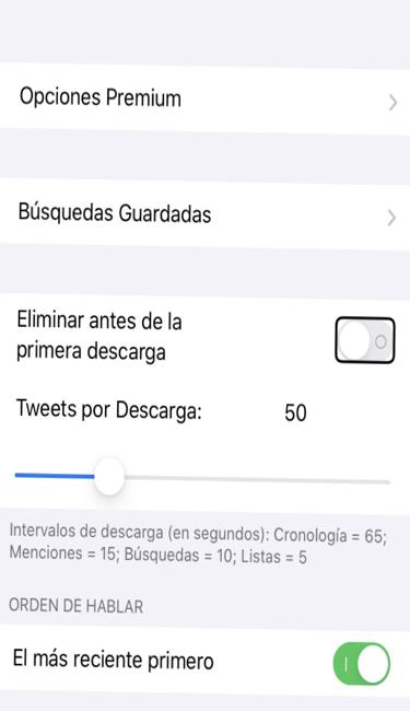 Se muestran los ajustes de orador social y la casilla para eliminar los tweet antes de la nueva descarga