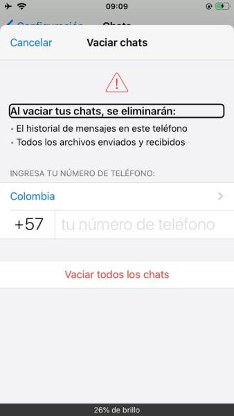 Captura de pantalla de whatsapp, que muestra las opciones para eliminar o vaciar los chat