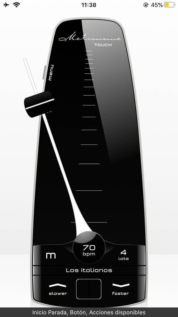 Captura de pantalla que muestra el metronome Toch